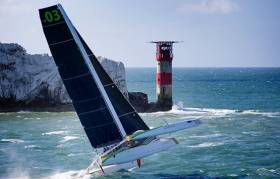 The mighty MOD70 Phaedo 3 on a mission - which she achieved big time - in today's J.P. Morgan Asset Management Round the Island Race