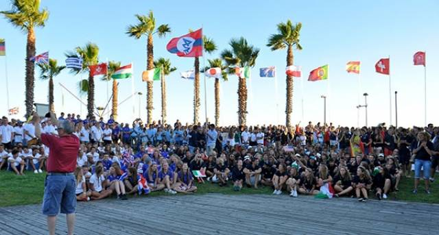 Although flags are flying (including Ireland's) at the 420 Worlds opening ceremony there was no wind for racing on the first day yesterday