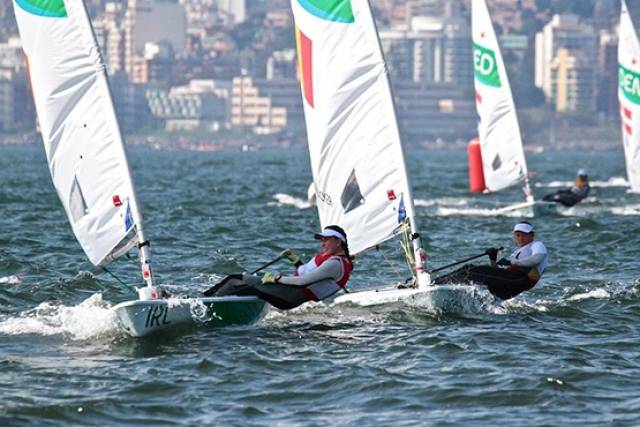Silver service….Annalise Murphy crosses the finish line in the crucial place in the Medals Race ahead of Belgium, The Netherlands and Denmark
