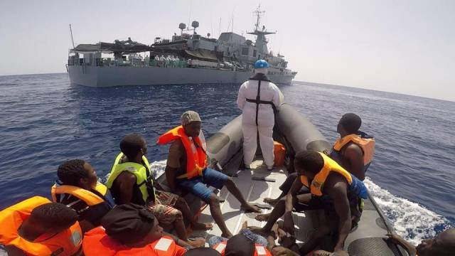 Rescued migrant refugees on board a RHIB belonging to the OPV LÉ William Butler Yeats as seen off Libya