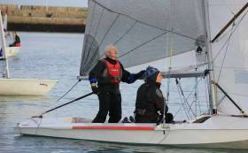 Louis Smyth at the helm of his Fireball dinghy during Sunday's DMYC Frostbites which saw two excellent races