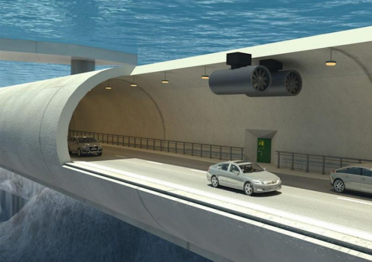 Artist's impression of the proposal from a team at Heriot-Watt University in Edinburgh for a floating underwater tunnel between Larne in Northern Ireland and Portpatrick in Scotland