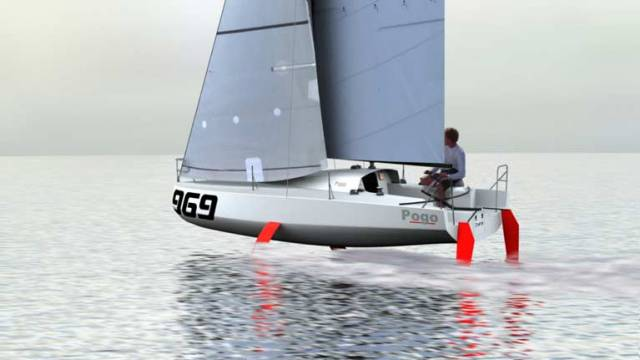 Onwards and upwards….the new Ship of Dreams for offshore racing hopefuls is making its debut at Dusseldorf Boat Show. A CGI of the new Pogo Classe Mini Proto Foiler, which will provide a potential access point for Mini-Transat, Figaro Solo, Class 40 and IMOCA 60 enthusiasts