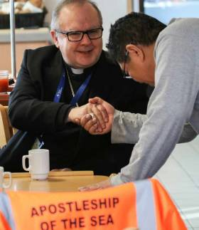 Bishop Robert Byrne at a visit to Tyne Port