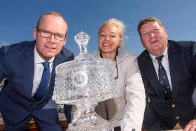 Simon Coveney TD, Minister for Housing, Planning and Local Government; Susan Horgan, Rear Commodore Kinsale Yacht Club and David O'Sullivan, Vice Commodore, Kinsale Yacht Club pictured at the launch of The O'Leary Life & Pensions Sovereign's Cup 2017 at the West Cork Club