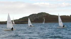 Ronan Wallace leads Dave Quinn in Race one of the Howth Laser Frostbites, 2nd December