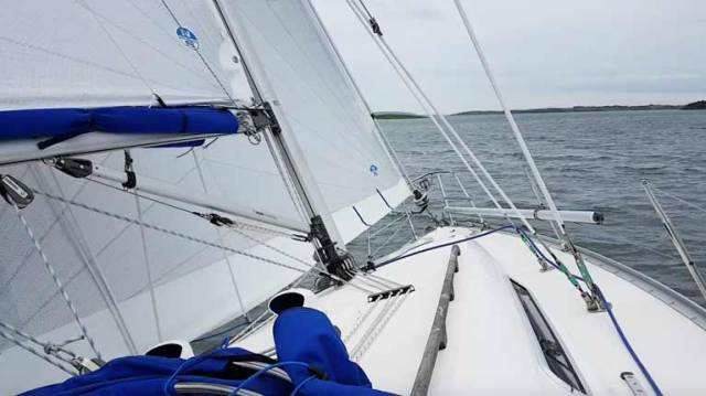 "NSI trialling of new North Sails Tour Xi cruising sails on Strangford Lough recently on Peter Niblock's Moody S31 ""Zeelander"""