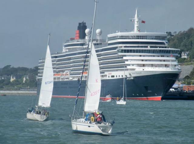 Cunard Line's Vista class cruise ship Queen Elizabeth berthed at Cobh