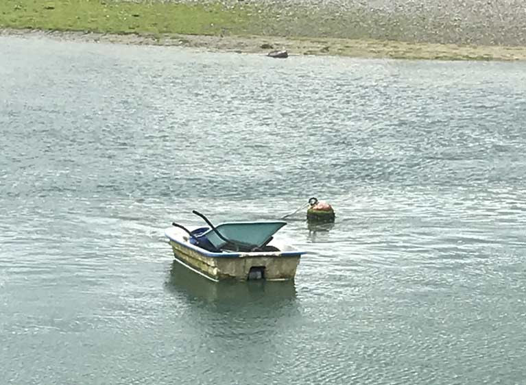This untended barrow in a boat at Ringabella has raised concerns for well-being of Ms Molly Malone
