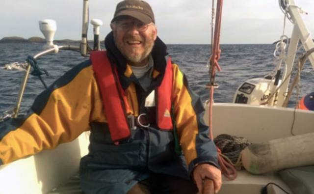 Richard Kennedy on board Seachrán, sailing for Inisbofin