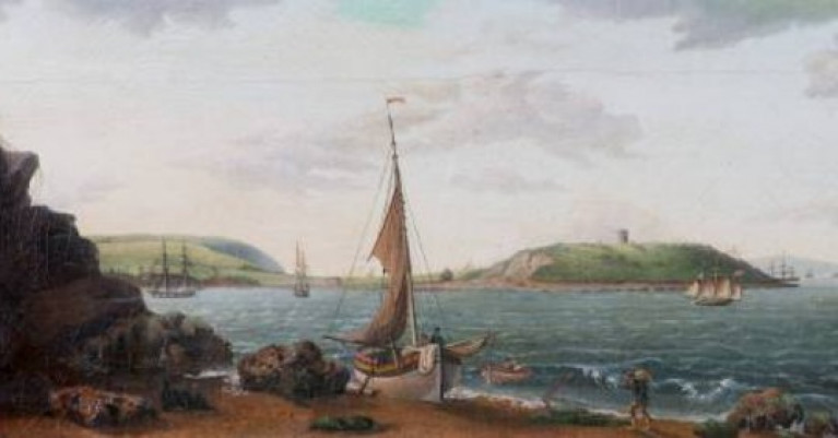 Statio Bene draws together over 40 artworks describing the traditions and historic views of Cork Harbour among them Unknown, View of Cork Harbour from Rostellan, Inisbeg Island, 1809. Collection Crawford Art Gallery, Cork