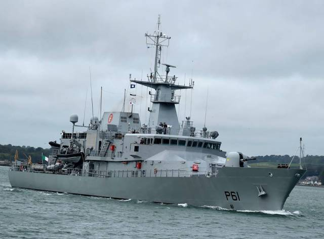 LÉ Samuel Beckett Afloat adds is the first of the OPV90 /P60 class which form a quartet out of a fleet total of 9 naval patrol vessels.