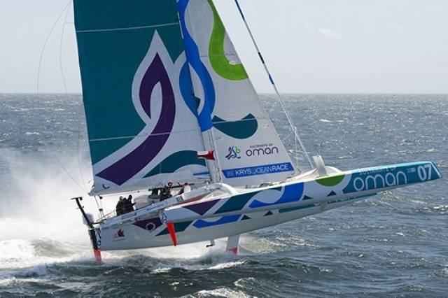 She flies…..current Round Ireland Record Holder Musandam-Oman will be on the line for the start of the Volvo Round Ireland Race at Wicklow on June 18th – and this time Damian Foxall will be on board.