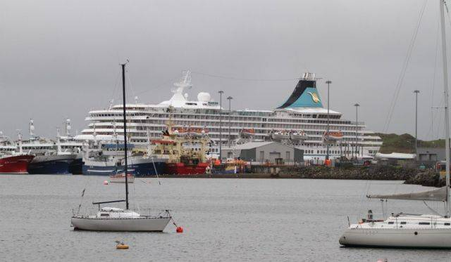 Yachts at moorings and large trawlers docked in Killybegs. Also berthed in the Co. Donegal port Afloat adds is German cruise operator Phoenix Reisen's Artania