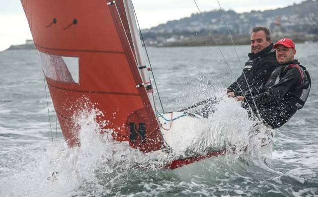 Squib winners – 'Toy for the Boys' skippered by Peter Wallace and crewed by Martin Weatherstone of Royal North of Ireland Yacht Club