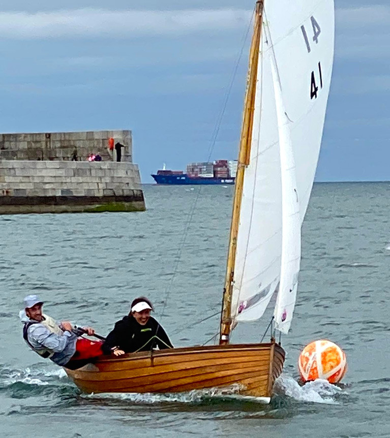 Olympian Finn Lynch for Blessington SC and Annalise Murphy of the National YC winning the first race of the 133-year-old Dublin Bay Water Wags' delayed 2020 season in Cathy MacAleavey's Molly yesterday (Wednesday) evening