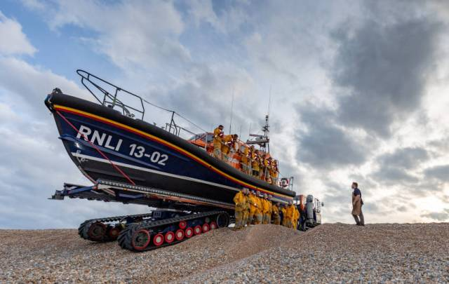 Jack Lowe at work photographing Dungeness RNLI's volunteers