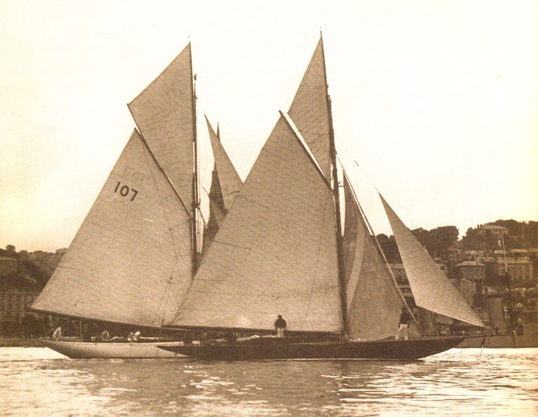 "Harry Donegan's famous Gull and her successor Sibyl off Cobh – both boats are somehow involved in the story of how the ""genuine fake ketch"" Betty Alan has so far failed to sail round Britain and Ireland"