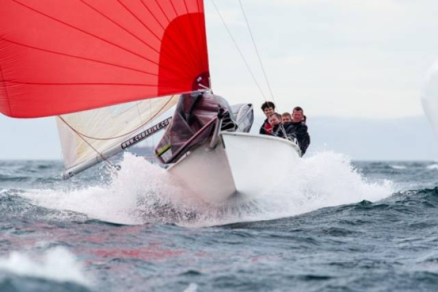 A 1720 powers downwind at a Cork Harbour based Euro Champs in 2014