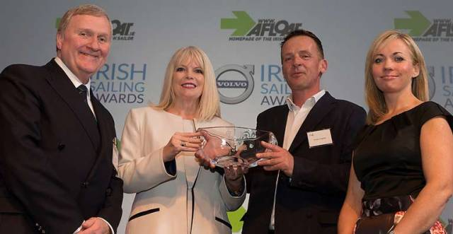 Last year's Sailor of the Year winner Conor Fogerty (second from right) is presented with his trophy at the ceremony by Irish Sailing President Jack Roy, (left) Minister Mary Mitchell O'Connor and Patricia Green of Volvo (right)