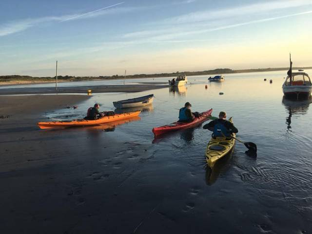 The amateur kayakers setting out from Wexford at dawn this morning
