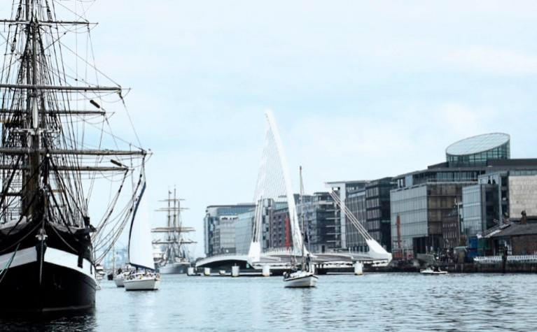 The quarter tonner Peja was pursued along the Liffey through Dublin's Docklands