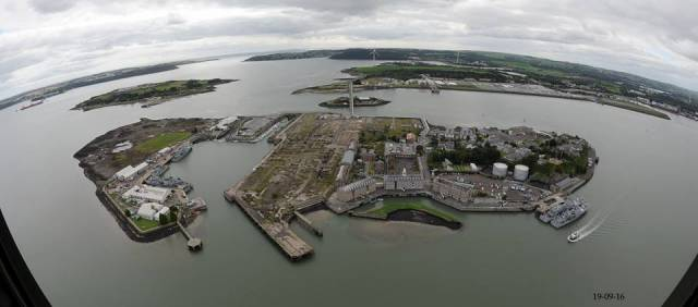 The Irish Naval Service base on Haulbowline Island, Cork Harbour, homeport to a fleet of eight patrol vessels.