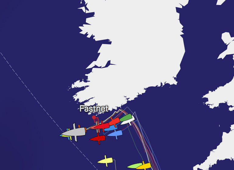 The Vendee Artique fleet sail close to the south-west coast of Ireland