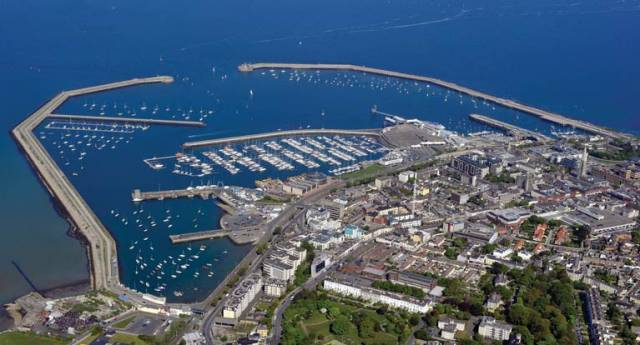 The modern day harbour at Dun Laoghaire. The first stone was laid 200 years ago today