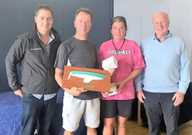 Squib Easterns Champions Colm Dunne and Fiona Ward with Gary Cullen of Provident CRM and HYC Rear Commodore Paddy Judge