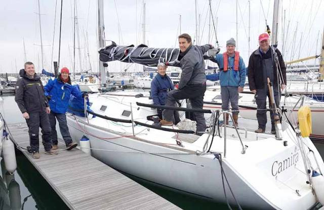 Peter Beamish (right) with the Camira crew at Dun Laoghaire Marina all set for a 3di Sail Trial on Dublin Bay