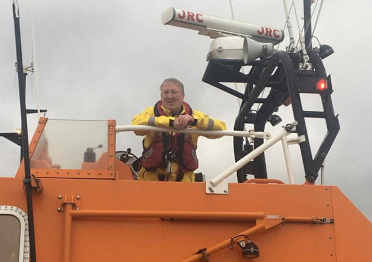 Brian Kehoe on board the Tamar class lifeboat Killarney