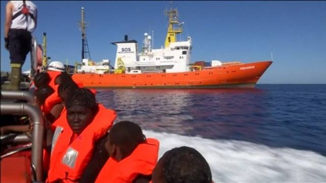 The migrants are aboard the Aquarius in the Mediterranean Sea