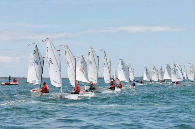 Optimists in action at the 2015 Crosbie Cup in Dunmore East