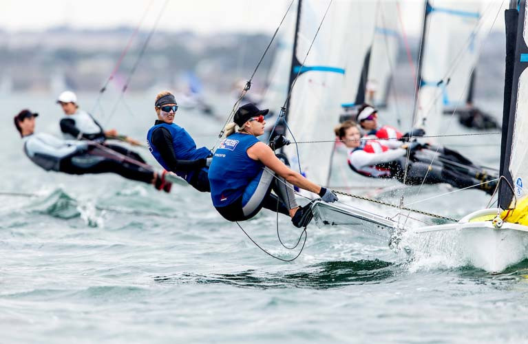 Charlotte Dobson (left) teamed with Dublin Bay's Saskia Tidey won two 49erFX World Championships Races in Geelong Australia