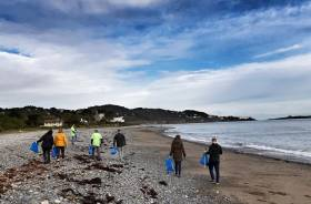 A team from TD securities on Killiney Beach, Co. Dublin which recently participated in a great beach clean-up group as part of a Clean Coasts programme
