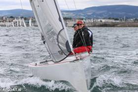 Mike McIntyre and his two man crew lead the RS Elites at Dun Laoghaire