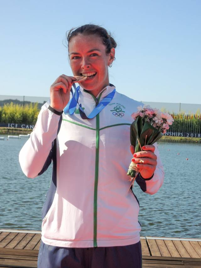 Jenny Egan with her bronze medal from the canoe sprint World Championships.