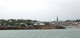 Haulbowline Waste Tip as seen from the channel between Haulbowline and Spike Island