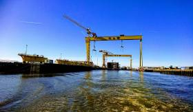 View taken from Belfast Lough of the Harland & Wolff shipyard