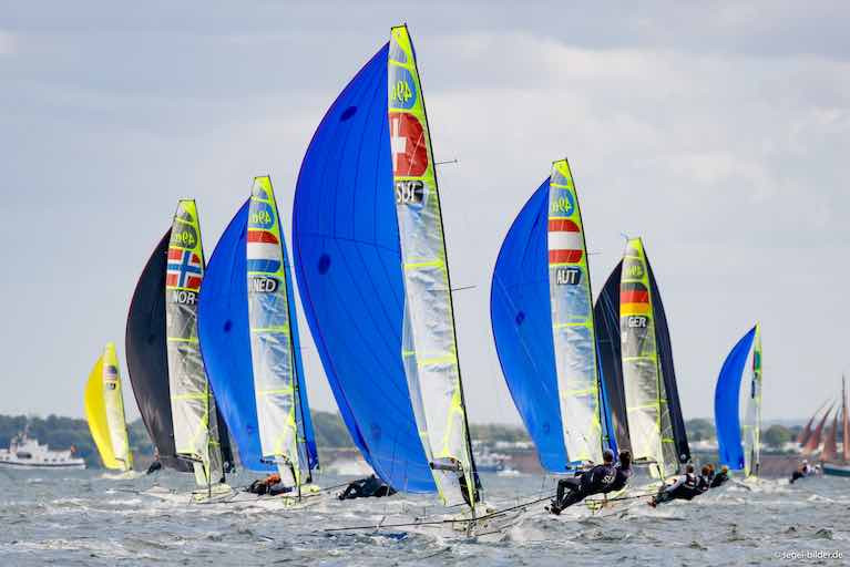 Under 23 duo Robert Dickson and Sean Waddilove were top Irish 49er performers in Kiel last weekend