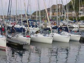 The workhorses in waiting……Howth Yacht Club's flotilla of J/80s which fulfill half a dozen roles at various levels of training each week