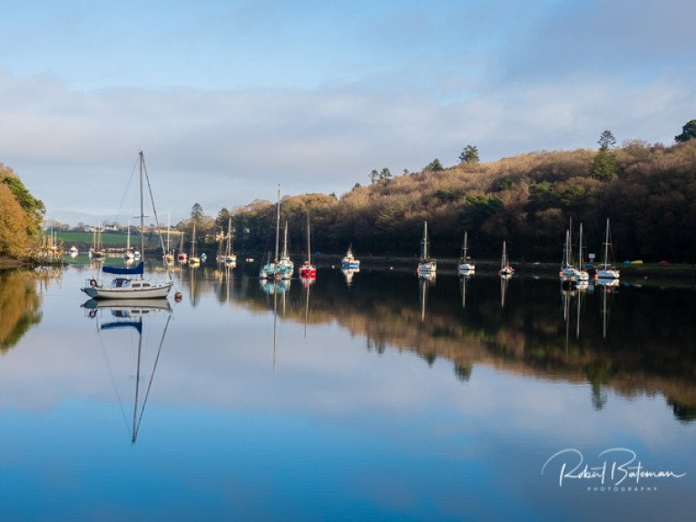 Yachts on moorings in Drakes Pool, Crosshaven in Cork Harbour