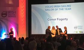 Conor Fogerty receiving the Volvo Irish Sailor of the Year Award for 2017 at the RDS tonight