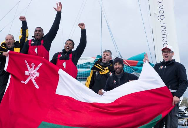 Dawn of a great new era. Damian Foxall (left) and Sidney Gavignet (centre) and their shipmates from Musandan-Oman in he early morning in Wicklow today after taking line honours in the Volvo Round Ireland Race 2016 and shattering the boats's own Round Ireland Record established in May 2015.