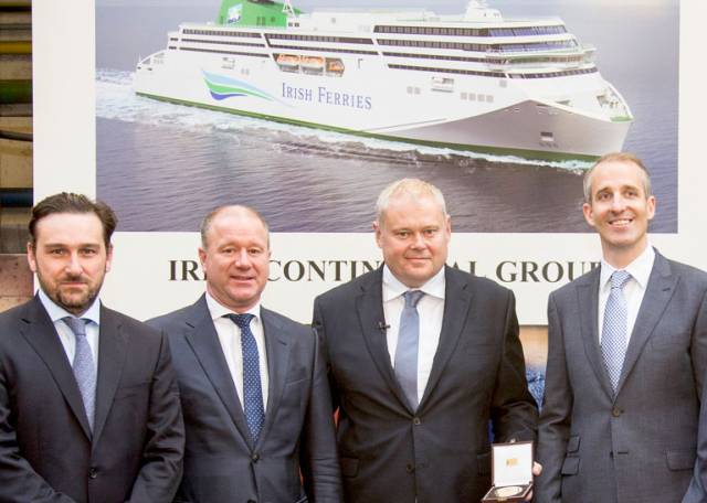 Led by Irish Ferries managing director, Andrew Sheen (centre right), the group included David Ledwidge (left), chief financial officer, Irish Continental Group Plc and Capt. Brian McKenna (right). With them is Rüdiger Fuchs (centre left), CEO of shipbuilders Flensburger Schiffbau-Gesellschaft.