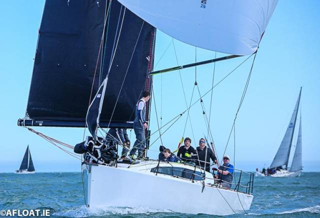 The JPK 10.80 Rockabill VI flying a symmetrical spinnaker on Dublin Bay
