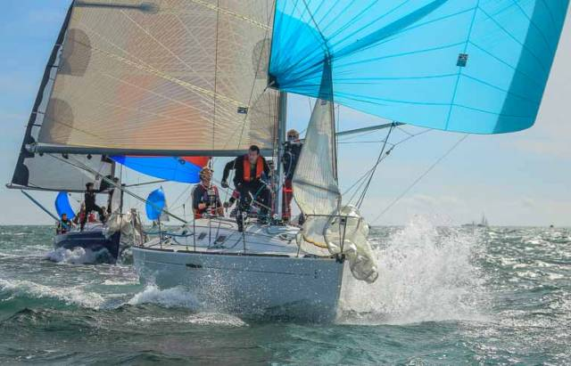 Jean Mitton's Levana of the Royal St. George Yacht Club leads Chris Johnston's National Yacht Club entry Prospect in the Beneteau 31.7 Championships on Dublin Bay