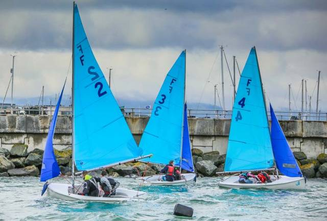 College team racing in Firefly dinghies in Dun Laoghaire Harbour. A new Dublin Team Racing League aims to build on September's Elmo Cup momentum and bridge the gap to college team racing