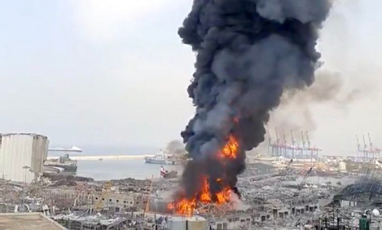 The devastating scene of the Port of Beirut blast that took place in August last year and which was connected with a ship whose captain is been sought by Interpol. Among the ships berthed during the incident was the Jouri which AFLOAT identified as the former City of Paris that traded in Irish waters